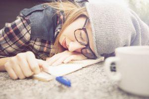 Girl asleep at desk