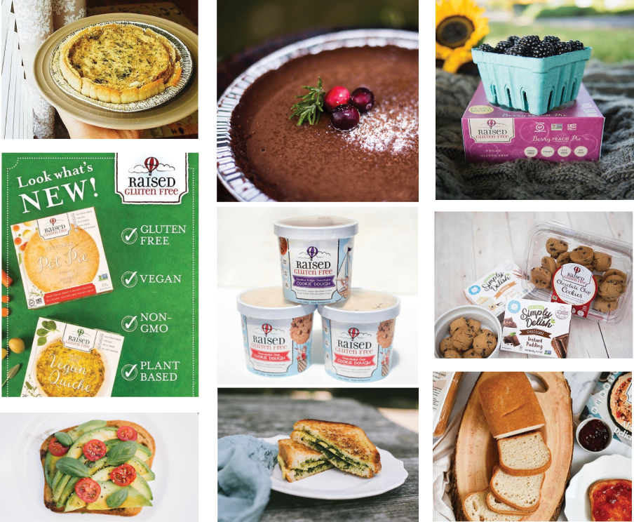 Raised Gluten Free collage of products